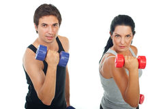 Strength couple with barbell Royalty Free Stock Photos