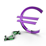 Strength of the euro against the dollar. This 3D image of the euro currency overpowered us dollar Royalty Free Stock Photo