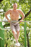 Strength Exercise In The Park Royalty Free Stock Image
