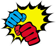 Strength fists, martial arts emblem. Vector. Royalty Free Stock Image