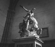 Strength in Florence. Sculpture in Florence`s main square showing dominance and strength royalty free stock images