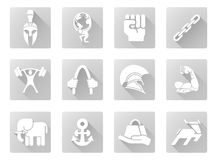Strength icons. Conceptual strength icon set of icons relating to the concept of strength or being strong in a modern flat shadow style vector illustration