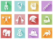 Strength icons flat shadow style. Conceptual strength icon set of icons relating to the concept of strength or being strong in a modern flat shadow style Stock Photo
