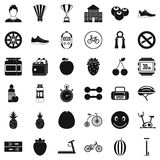 Strength icons set, simle style. Strength icons set. Simple style of 36 strength vector icons for web isolated on white background Stock Photos