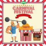 Strength man of carnival design. Stength man and tickets tent icon. Carnival festival fair circus and celebration theme. Colorful design. Vector illustration Stock Image