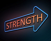 Strength neon concept. 3d Illustration depicting an illuminated neon sign with a strength concept Stock Photos