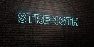 STRENGTH -Realistic Neon Sign on Brick Wall background - 3D rendered royalty free stock image Stock Images
