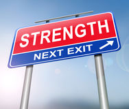 Strength sign concept. 3d Illustration depicting a sign with a strength concept Stock Photography