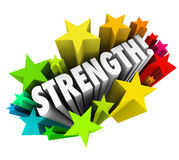 Strength Stars Word Strong Competitive Advantage. Strength word surrounding by stars to illustrate competitive advantage or special ability that is better than Royalty Free Stock Photos