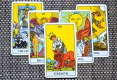 The Strength Tarot Card Brave Strong Self Confidence. The Strength Tarot Card makes you brave strong with inner strength. It is about Inner strength, self Royalty Free Stock Photography