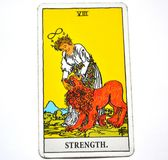 The Strength Tarot Card Brave Strong Self Confidence. The Strength Tarot Card makes you brave strong with inner strength. It is about Inner strength, self Stock Photography