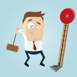 Strength tester. Funny business man with strength tester royalty free illustration