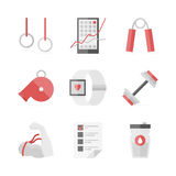 Strength training flat icons set. Flat icons set of strength training, physical activity, bodybuilding equipment, sport workout, fitness schedule. Flat design Stock Images