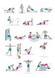 Strength training workout. A man and a woman perform a physical exercise routine. They perform exercises strength workouts individual or as a couple royalty free illustration