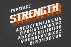 Strength typeface font. Strength typeface on black background vector illustration