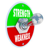 Strength Vs Weakness Switch Choose Strong Option. Strength vs Weakness words on a toggle switch, button or lever to illustrate your choice to pick the best Royalty Free Stock Image