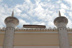 Strength Wall of The most beautiful Masjid Mosque in Thailand Art beautiful Islamic design sky and clouds stock photo