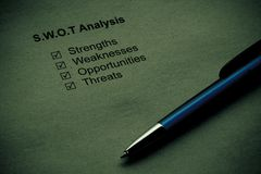 Strength weakness opportunities threats. Business strategy analysis concept. SWOT analysis - strength, weakness, opportunities, threats Stock Images