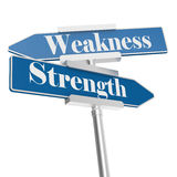 Strength and weakness signs. Isolated on white. 3D rendering Royalty Free Stock Photography
