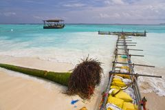 Strengthening of coast on one of Maldivian Royalty Free Stock Photography