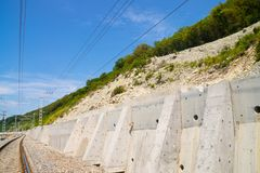 Strengthening hillside above railway Royalty Free Stock Images