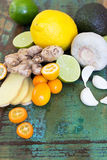 Strengthening the immune system. Various ingredients for strengthening the immune system Royalty Free Stock Photo