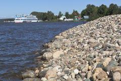 Strengthening the shore of the river Sheksna near Goritsky Voskresensky Monastery in Vologda region Royalty Free Stock Images