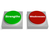 Strengths Weaknesses Buttons Shows Weak Royalty Free Stock Images