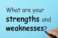Strengths and weaknesses concept. Hand writing What are your strengths and weaknesses stock images