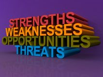 Strengths weaknesses opportunities and threats. Concept image with the words on a purple background royalty free illustration