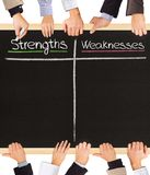 Strengths Weaknesses. Photo of business hands holding blackboard and writing Strengths and Weaknesses Royalty Free Stock Image