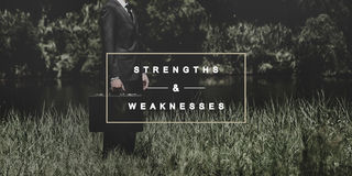 Strengths and Weaknesses SWOT Opportunities Threats Concept. Businessman Traveling Seeking Freedom Concept Stock Photos