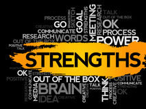 STRENGTHS. Word business collage Stock Images