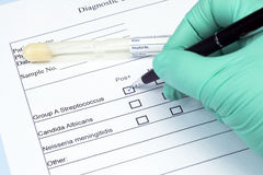 Strep Culture Test. Diagnostic culture swab and holder with streptococcus group A box checked Royalty Free Stock Photos