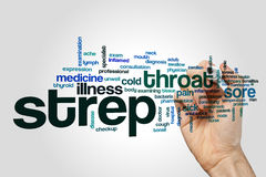 Strep word cloud concept. Strep word cloud on grey background royalty free stock photography