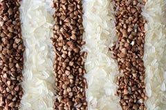 Strepen van rijst en boekweit Stock Foto's