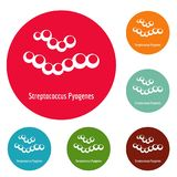 Streptococcus pyogenes icons circle set vector. Isolated on white background Stock Images