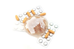 Streptomyces and pills on white Royalty Free Stock Images