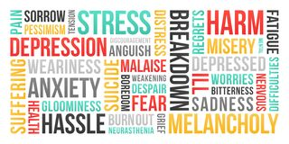 Stres, depresja, niepokój - słowo chmura royalty ilustracja