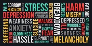 Stres, depresja, niepok?j - s?owo chmura ilustracji