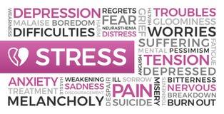 Stres, depresja, niepok?j - s?owo chmura royalty ilustracja
