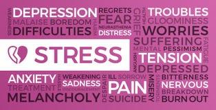 Stres, depresja, niepok?j - s?owo chmura ilustracja wektor
