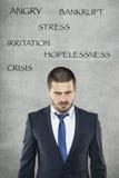 Stres, gniewny biznesowy mężczyzna w kostiumu Fotografia Royalty Free