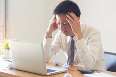 Stres przy pracą, niepowodzenie pracować, biznesowy niepowodzenie fotografia royalty free