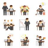 Stres przy prac ikonami ustawiać Zdjęcie Stock
