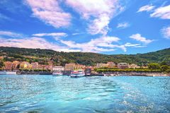 Stresa ferry port and skyline in Maggiore lake. Piedmont Italy Stock Image