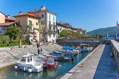 Stresa, Verbania, Italia - 21 aprile 2017: Vista dell'isola Fisherm Fotografie Stock Libere da Diritti