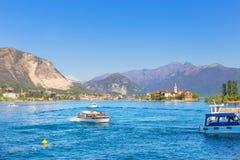 Stresa, Verbania, Italia - 21 aprile 2017: Vista dell'isola Fisherm Fotografia Stock