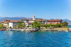 Stresa, Verbania, Italia - 21 aprile 2017: Vista dell'isola Fisherm Fotografie Stock