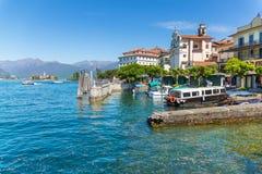 Stresa, Verbania, Italy - April 21, 2017: View of Island Bella, the Borromean Islands of Lake Maggiore in Piedmont, Italy. Stock Photo